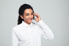 Afro american businessman talking on the phone Royalty Free Stock Photos