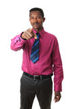 Afro american businessman with a tie isolated Stock Photos