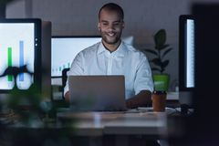 Afro American businessman working stock photos