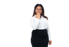 Afro american businesswoman covering her mouth Stock Image