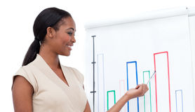 Afro-american businesswoman doing a presentation Royalty Free Stock Image