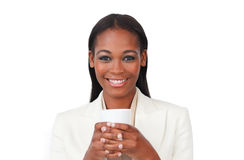 Afro-american businesswoman drinking a coffee Stock Photography