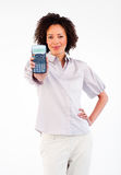 Afro-American businesswoman holding a calculator Stock Photos