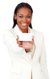 Afro-american businesswoman holding a white card Stock Images