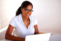 Afro-american businesswoman looking at you Royalty Free Stock Photos
