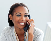 Afro-American businesswoman talking on a phone Royalty Free Stock Photo