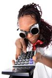 Afro american with calculator Royalty Free Stock Images