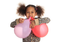 Afro American child and asian hair with ball mouth Stock Images