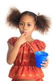 Afro American children Asian long hair drinks milk Stock Photography