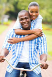 Afro american couple bicycle Royalty Free Stock Images