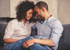 Afro American couple at home Royalty Free Stock Photography