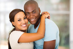 Afro american couple hugging Royalty Free Stock Photography