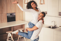 Afro American couple in kitchen Royalty Free Stock Photo