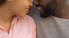 Afro-american couple nuzzling and embracing, happy together, closeup. Stock footage stock footage