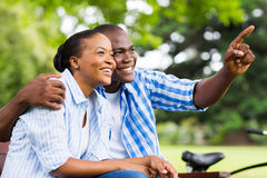 Afro american couple outdoors Royalty Free Stock Image