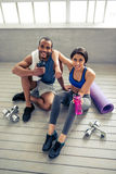 Afro American couple working out Stock Photos