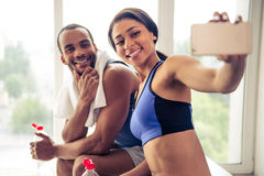 Afro American couple working out Royalty Free Stock Photos