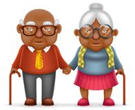 Afro American Cute Smile Happy Elderly Couple Old Man Love Woman Grandfather Grandmother 3d Realistic Cartoon Family Royalty Free Stock Photo