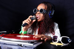Afro american DJ in action Royalty Free Stock Photography