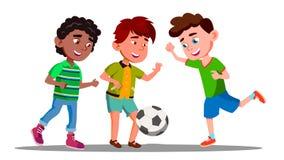 Afro American, European And Asian Boys Play Football In International Football Team Vector. Isolated Illustration. Afro American, European And Asian Boys Play royalty free illustration