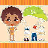 Afro American Fashion Girl. Sweet and cute Afro American fashion girl clothes collection set Stock Photos