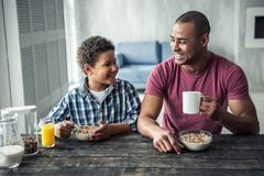 Father and son. Afro American father and son in casual clothes are talking and smiling while having breakfast together at home royalty free stock photography