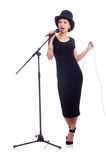 Afro-american female singer. Isolated on white Royalty Free Stock Photography