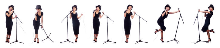 The afro-american female singer isolated on white Royalty Free Stock Photos