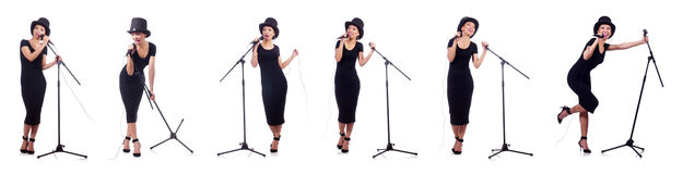 The afro-american female singer isolated on white. Afro-american female singer isolated on white Stock Photography