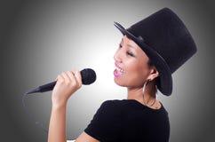 Afro-american female singer. On white Royalty Free Stock Image