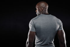 Afro american fitness model looking at copy space Royalty Free Stock Image