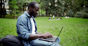 Happy African-american Male with Laptop stock footage