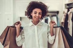 Afro American girl doing shopping Stock Photo