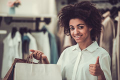 Afro American girl doing shopping Royalty Free Stock Images