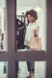 Afro American girl doing shopping Stock Image