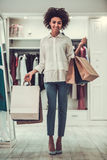 Afro American girl doing shopping Royalty Free Stock Photo