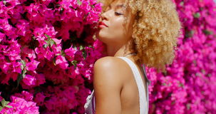 Afro American Girl on Floral Background stock video