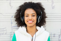 Afro-American with headphones Royalty Free Stock Images