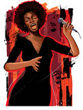 Afro american jazz singer on grunge background Royalty Free Stock Image