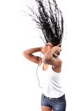 Afro-american listen music in headphones Stock Photo