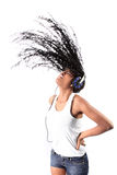 Afro-american Listening Music In Headphones Royalty Free Stock Photography