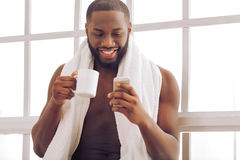 Afro American man at home Royalty Free Stock Image