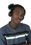 Afro American man listening to music isolated Royalty Free Stock Images