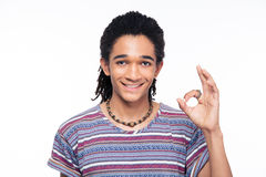Afro american man showing ok sign Stock Photos