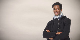 Afro american man. Smiling young afro american student man. Education concept Royalty Free Stock Photography