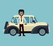 Afro american man standing with beige classic automovile Stock Photo