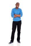 Afro american man standing. Full length portrait of afro american man standing on white Stock Photography