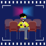 Afro-American man watch a movie in 3D glasses Stock Images