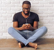Afro American Man With Gadget Royalty Free Stock Photos