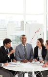 Afro-american manager in a meeting with his team Royalty Free Stock Images